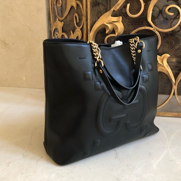 a55c683a0ad765 Gucci Bags | Nwt Gg Embossed Leather Tote Handbag Black | Poshmark